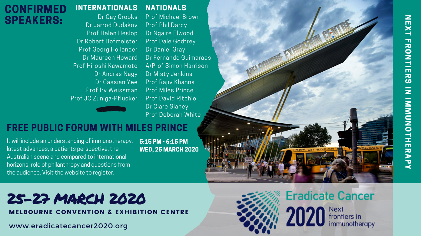 Eradicate Cancer 2020 : 25-27 March confirmed speakers ……..